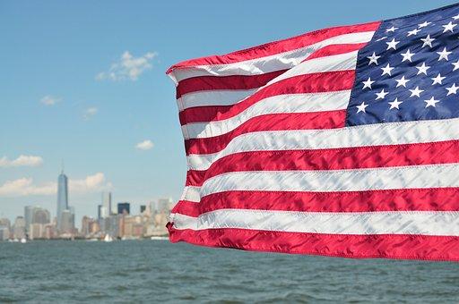 Usa, Flag, New York, Skyline, Patriotic, Independence
