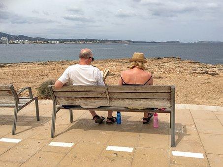Holiday, Ibiza, Spain, Seniors, Bench, View, Read