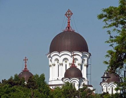 Orthodox, Church, Romanian, Dome, Crosses, Typical