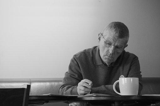 Man, Coffee, Shop, Male, Writing, Serious, Senior