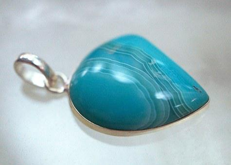 Agate, Pendant, Sterling Silver, Sterling, Silver, Bail