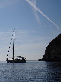 Sail Boat, Corfu, Greece, Sun, Sea, Silhouette, Boat