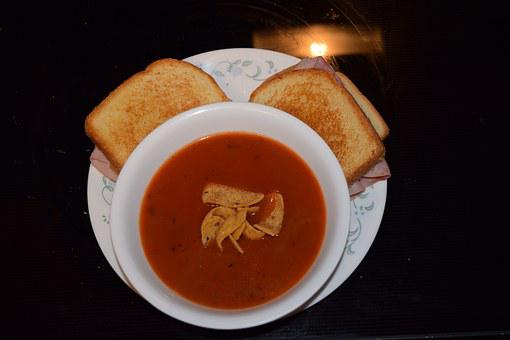 Soup, Sandwich, Food, Bread, Lunch, Tomato, Meal
