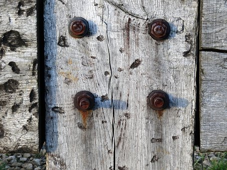 Aged Wood, Rusted Bolts, Assembling Wood And Iron