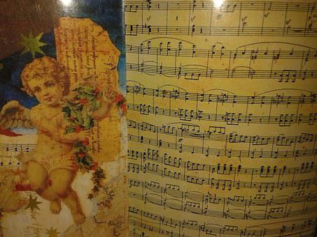 Notenblatt, Sheet Music, Music, Angel, Christmas