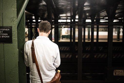Man, Person, Railroad, Railway, Solo, Standing, Train