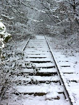 Track, Winter, Train, Seemed, Overgrown, Railway, End