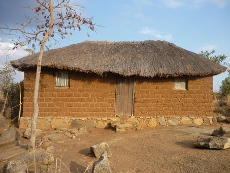 Home, Hut, Brick, Clay, Thatched Roof, Mwanza, Tanzania