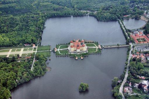 Saxony, Castle, Moritz Castle, Aerial View, Germany