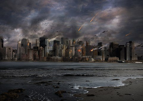 City, Explosion, Building, Sky, Fire, Nuclear