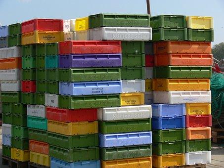 Boxes, Box, Fish, Port, Storage, Stack Boxes