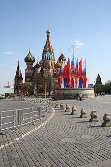 Tsar's Platform, Lobnoe Mesto Podium, Flags, Paving