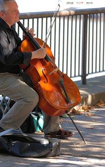 Man, Cello, Musical, String, Instrument, Busking