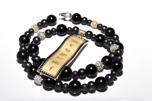 Jewelry, Necklace, Black, Silver, Beads