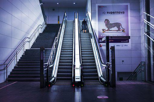 Escalators, Person, Solo, Stairs, Woman
