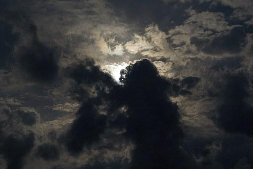 Dark, Clouds, Moon, Sky, Storm, Nature, Landscape