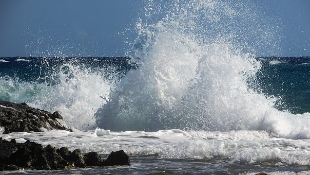 Wave, Smashing, Explosion, Sea, Beach, Nature, Spray