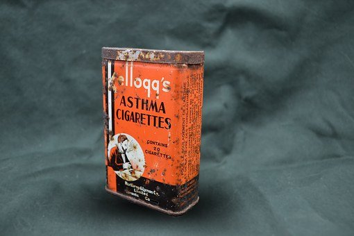 Cigarettes, Kelloggs, Tin, Graphic, Rust, Asthma