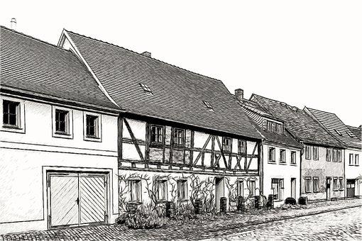 Drawing, Sketch, Architecture, Homes, Fachwerkhaus