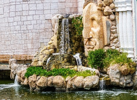 Waterfall, Cancun, Mexico, Mayan, Landmark, Stone