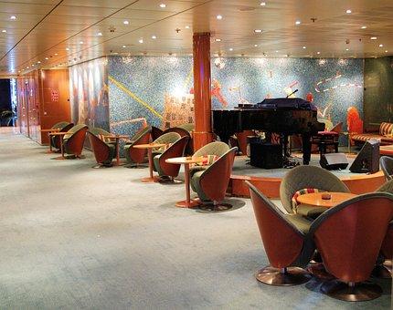 Cruise Ship Interior, Lounge Area Design, Music