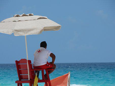 Beach, Security, Life Guard, Cancun, Observation