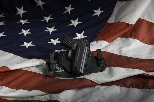 Holster, Gun, Pistol, Flag, Weapon, War, Military