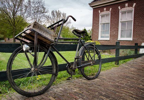 Bike, Bicycle, Cycling, Dutch, Saddle, Crate, Vintage