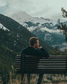 Bench, Man, Mountains, Overcast, Person, Sky, Snow