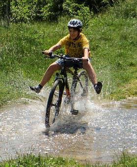 Bike, Boy, Adventure, Test Of Courage, Water, Wet