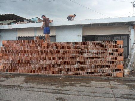 Bricks, House, Demolition, Construction, Modification