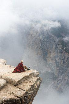 Cliff, Clouds, Fog, Man, Nature, Person, Rocks