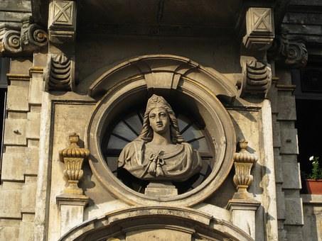Bust, Relief, Facade, Antique, Belgium, Brussels