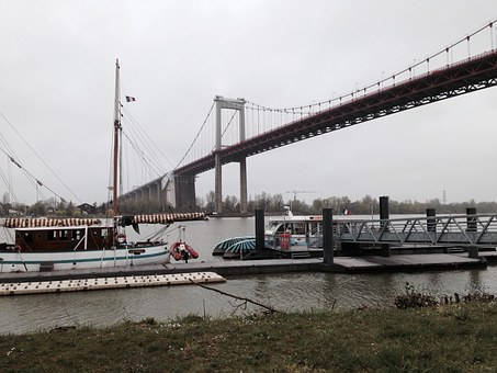 Bridge, Suspension Bridge, Port, Garonne, River