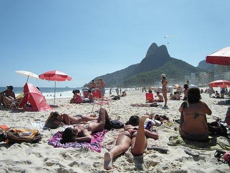 Copacabana, Rio De Janeiro, Beach, Girl, Sand, Bikini
