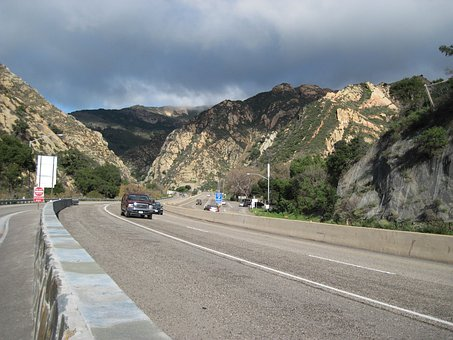 Gaviota Pass, Road, Tunnel, Freeway, Nature, Cars