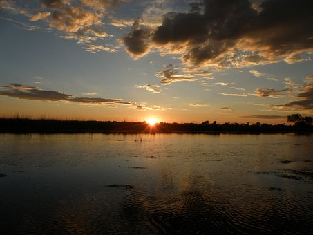 Sunset, Sun, Clouds, Sky, Lake, Water, Reflection