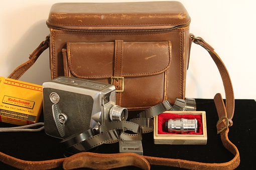 Antique, Camera, Film, Leather Bag, Lenses, Keystone