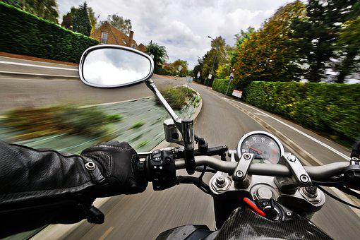 Motorcycle, Road, Speed, Rear View Mirror