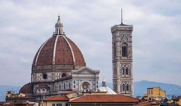 Florence, Italy, Duomo, Cathedral, Skyline, Sky, Clouds