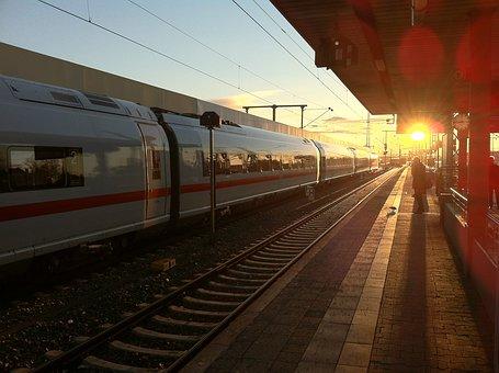 Railway, Railway Station, Sunshine, Morning Sun, Track