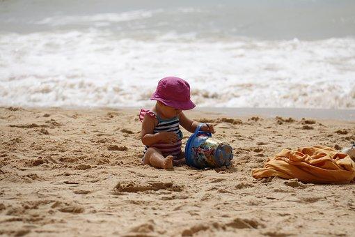 Child Playing, Beach, Bucket, Sand, Kids, Playing, Play