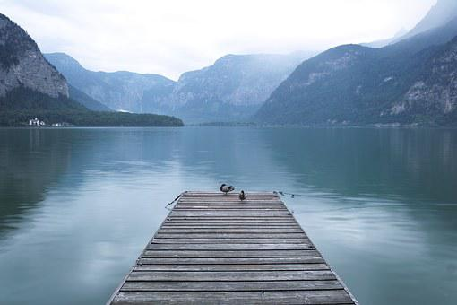 Hallstatt, Lake, Pigeon, Bridge, River, Island