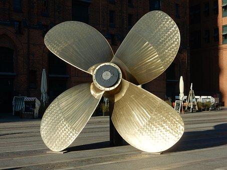 Propeller, Large, Shiny, Hamburg, Speicherstadt, Museum
