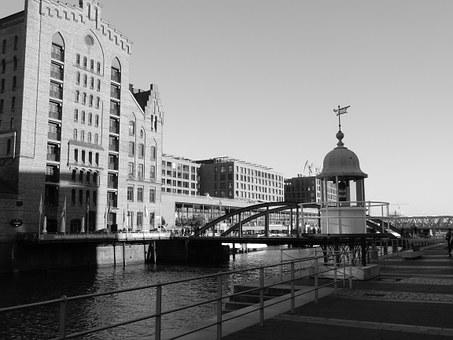 Hamburg, Speicherstadt, Water, Building, Brick