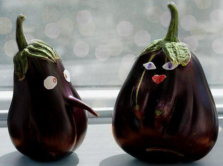 Eggplants, Funny, Pair, Naked, Vegetables