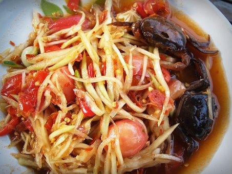Somtum, Dish, Thailand, Sausage, Meal, Lemon, Horse
