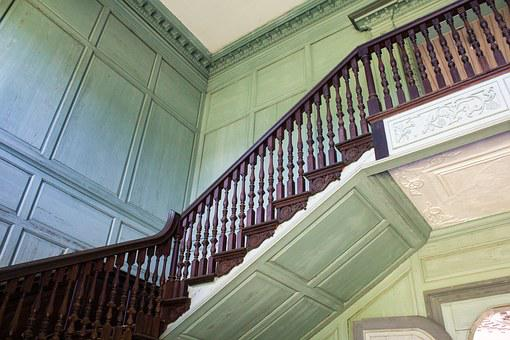 Staircase, Stairs, Railing, Plantation, Mansion