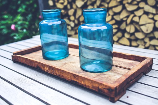 Big, Blue, Jar, Jars, Tray, Wood, Wooden, Design