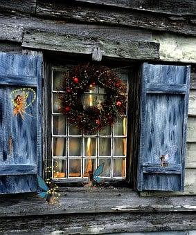 Country, Christmas, Magic, Wreath, Blue, Shutters